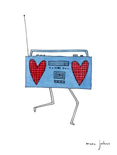boombox with hearts by @Marc Johns