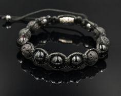Shamballa armband edelsteen armband Lava stenen parel armband Macrame armband agaat armband voor mannen van kralen armband mannen sieraden Armband