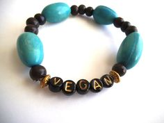 VEGAN Organic Beaded Stretch Bracelet by TerriJeansAdornments