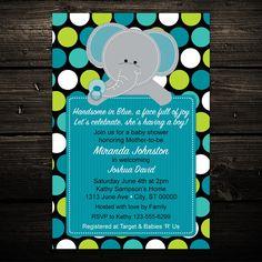 Baby Polka dot Elephant Printable Baby by LittleBeesGraphics, $12.99