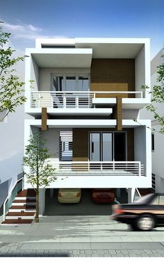 29 Best Modern Dream House Exterior Designs You Will Amazed - Duplex House Design, Townhouse Designs, House Front Design, Modern House Design, Dream House Exterior, Dream House Plans, Modern House Plans, Indian House Plans, Narrow House