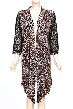 Leopard print cardigan with lace back and 3/4 length sleeves.