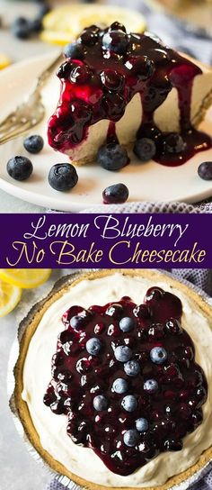 This creamy, light and fluffy Lemon Blueberry No Bake Cheesecake is the perfect springtime dessert and hooray for not turning on the oven!