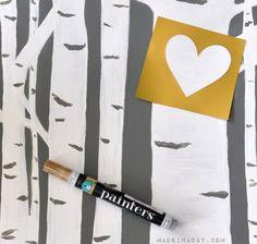 Hand paint a heart on canvas Birch Tree Art madeinaday.com