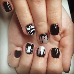 #venom #spiderman #haloween #haloweennails #nails #manicure #haloweenmanicure #marvel #venomnails