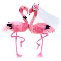 Flamingo wedding cake topper set.