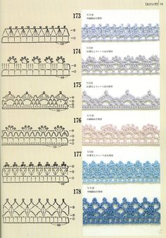 If you looking for a great border for either your crochet or knitting project, check this interesting pattern out. When you see the tutorial you will see that you will use both the knitting needle and crochet hook to work on the the wavy border. Crochet Borders, Crochet Diagram, Crochet Stitches Patterns, Crochet Chart, Crochet Motif, Crochet Flowers, Knitting Patterns, Crochet Edgings, Filet Crochet