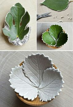 Live leaves pressed into clay? Must try this...