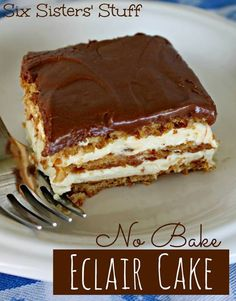 No Bake Eclair Cake 1 package (1 lb.) graham crackers 2 small french vanilla instant pudding (3.4 ounces each) 3 1/2 cups milk (I used skim) 8 oz.  Cool whip Ingredients for the frosting: 3 Tbsp unsweetened baking cocoa 1 1/2 cups powdered sugar 3 Tbsp butter (room temperature) 3 Tbsp of warm milk  Spray a 9 x 13 pan with non-stick spray. Place a layer of whole graham crackers on the bottom, then top with 1/2 the p  http://www.sixsistersstuff.com/2013/07/no-bake-eclair-cake.html
