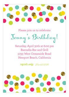 Glitter Color Confetti Invitation