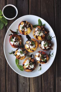 Grilled Peaches With Whipped Coconut Cream, Honey Balsamic Drizzle,  Mint #glutenfree