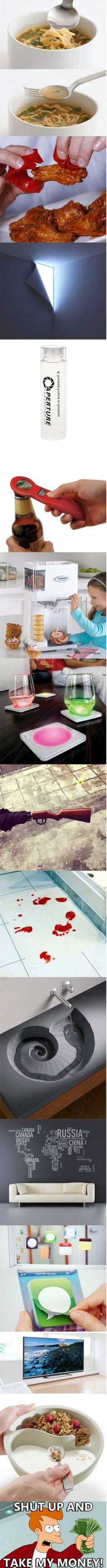 Some interesting and creative stuff… I thought it would be like regular ones and just have inventions but nope there had to be a cartoon saying shut up and take my money lol Ideas Para Inventos, Take My Money, Cool Inventions, Gadgets And Gizmos, Cool Ideas, Shut Up, Cool Stuff, Interesting Stuff, Random Stuff