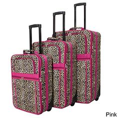 Luggage Sets Collections | World Traveler Designer Leopard Print 3piece Expandable Luggage Set Pink * Find out more about the great product at the image link. Note:It is Affiliate Link to Amazon.