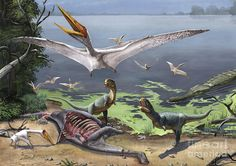 Alanqa; Late Cretaceous (95 Ma); Pterodactyloid; Discovered by Ibrahim et a., 2010; being attacked by Rugops primus; Late Cretaceous (95 Ma); Theropod; Discovered by Sereno et al., 2004; Artwork by Sergey Krasovskiy