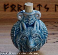 Witchcrafts Artisan Alchemy - WOLF SPIRIT Ceramic Pendant Potion Bottle, $13.95 (http://www.witchcraftsartisanalchemy.com/wolf-spirit-ceramic-pendant-potion-bottle/)