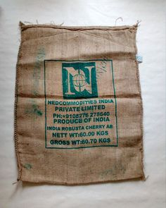 Indian Coffee Burlap Sack. Retro Burlap Sack. Burlap Sack for Arts and Crafts. Upholstery Burlap Coffee Bag.