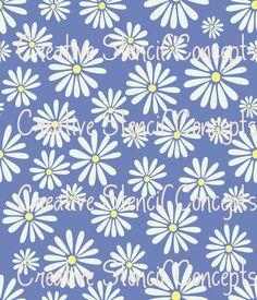 Allover Daisy Floral Decorative Wall Stencil by CreativeStencils, $29.95