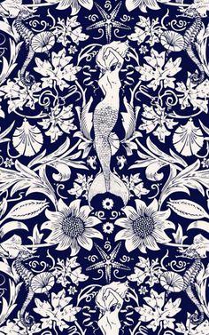Mermaid wallpaper (detail)