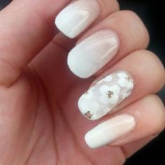 Faded French manicure with flowers
