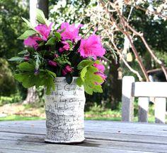 Flowering branches and garden herbs make a fresh floral arrangement in this Zpots Gratitude vase