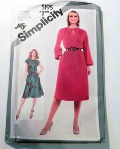 "1980s Pullover dress sundress elastic waist cap sleeves sewing pattern Plus Size Simplicity 5195 Size 18 20 Bust 40 42"" UNCUT FF by retroactivefuture on Etsy"