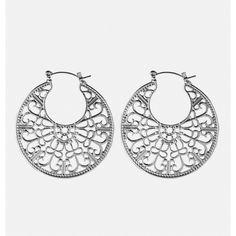 Avenue Filigree Hoop Earrings (£5.55) ❤ liked on Polyvore featuring jewelry, earrings, silver, plus size, avenue jewelry, silver filigree jewelry, filigree earrings, loop earrings and silver jewellery
