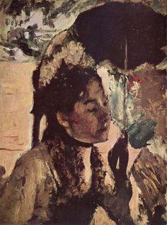 Edgar Germain Hilaire Degas.  In den Tuilerien: Frau mit Sonnenschirm. Um 1887-1890, Öl auf Leinwand, 27 × 20 cm. Glasgow, Art Gallery and Museum. Frankreich. Impressionismus.  KO 01297
