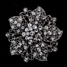 Opentip.com: Elegance by Carbonneau Brooch-156-AS-Clear Antique Silver Flower with Rhinestones Brooch 156