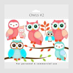 Owls clipart - whimsical owls, baby owls, birdies, branch, tree branch, leaves, cute, pink, blue, birds, for personal and commercial use. $3.40, via Etsy.