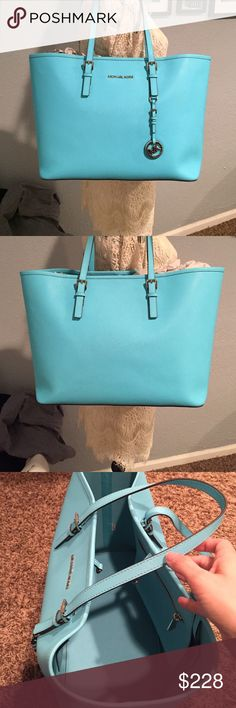 e381df940555e Michael Kors Jet Set Travel Tote LG Aquamarine Jet Set tote with silver  hardware. Only been used twice and has been stored with tissue and dust bag