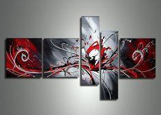 Arte de pared decoraciones pintadas a mano negra blanca y roja Peacock para pintura al óleo abstracta moderna casa 5 piezas de lona
