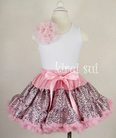 Light Pink Leopard Pettiskirt Birthday Party Pegeant Tutu 1-7Y WO6