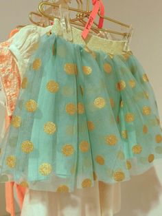 Sweet gold spotted tulle skirt from Billeblush for spring/summer 2014 girls fashion