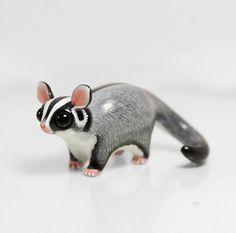 RESERVED for Erica Sugar Glider Figurine OOAK Handmade Polymer Clay Animal Totem