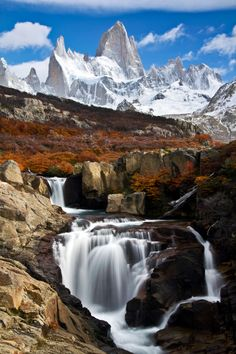 Waterfall and mountains in Los Glaciares National Park near the village of El Chaltén, Santa Cruz, Argentina. Photo by Martín Bordagaray. Places Around The World, Oh The Places You'll Go, Places To Travel, Places To Visit, Around The Worlds, Beautiful Waterfalls, Beautiful Landscapes, Beautiful World, Beautiful Places