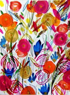 Flowers Wall Art Flowers Watercolor Acrylic by CelineArtGalerie
