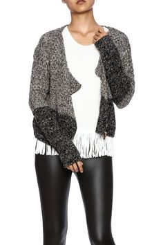 Mixed yarns and two colors add a modern twist to a classic zip cardigan. This features a relaxed fit bronze zipper and basket weave texture.   Two Tone Jacket by Sugar Lips. Clothing - Jackets, Coats & Blazers - Jackets Boston, Massachusetts New Hampshire