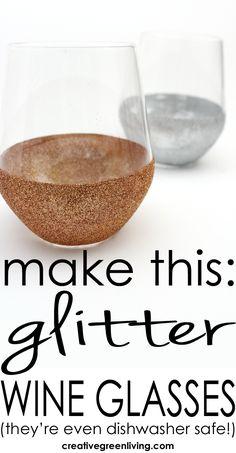 how to make DIY glitter stemless wine glasses
