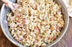 mixing macaroni salad in a metal mixing bowl Homemade Macaroni Salad, Macaroni Salad Ingredients, Healthy Diet Recipes, Snack Recipes, Cooking Recipes, Snacks, Cooking Ideas, How To Make Macaroni, How To Cook Pasta