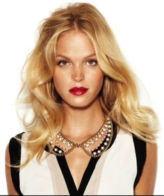 Erin Heatherton rocks a red lip and golden locks.