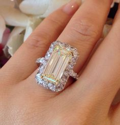 █ GIA 4.41 CT Emerald Cut Yellow Diamond Ring - Halo Setting 18k/Plat █ HM1435 #SolitairewithAccents