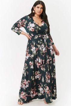 6517af9cc92ebb Plus Size Floral Surplice Maxi Dress  surplice neckline print Plus Size  Beauty