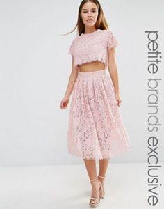 True Decadence Petite 2 In 1 Allover Lace Full Prom Skater Dress