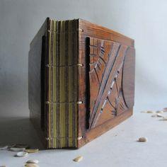 Photo album Scrapbook Wood covers Upcycled wood Carved Reclaimed furniture Landscape Vintage album. €100,00, via Etsy.