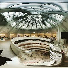 Inside view of #Guggenheim museum designed by #FrankLloydWright, #NewYork, ca. 1959.