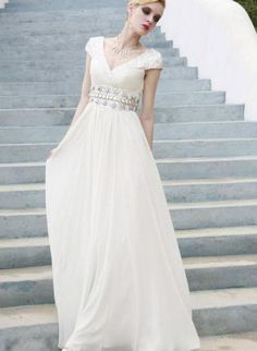 White Empire Wedding Dress with Pearl Embellished Belt,  Dress, Prom Dress  V Neck  Cap Sleeves, Chic