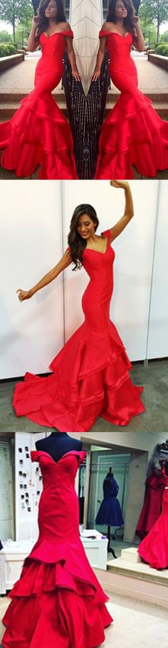 2017 mermaid off-shoulder prom dress, evening dress, party dress, graduation dress,Red prom dress,Mermaid prom dress,