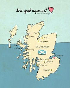I Love You in Scotland // Typographic Print UK Map by LisaBarbero, $18.00