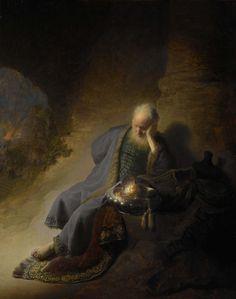 Jeremiah Lamenting the Destruction of Jerusalem, Rembrandt Harmensz. van Rijn, 1630. Photos don't do it justice.