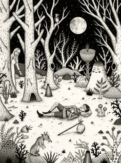 'The Night Visitor'. Surreal illustrations by Jon MacNair. Website here: http://www.jonmacnair.com/gallery-work/